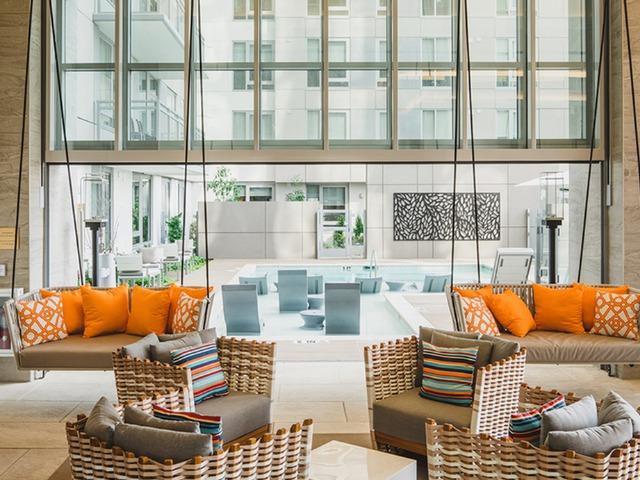 Open concept pool lounge area