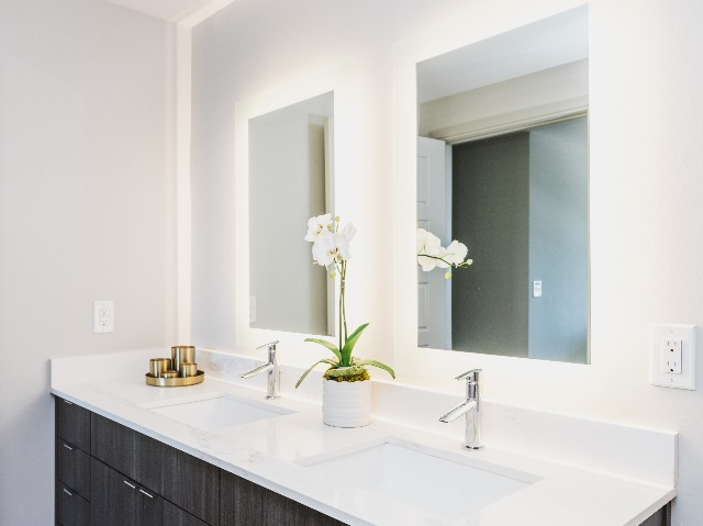 Double vanities and dual backlit LED mirrors with dark cabinets and white countertops
