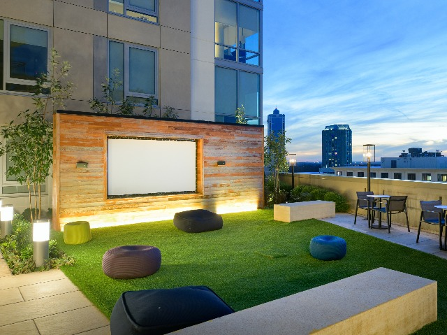 Movie lawn featuring a projection screen