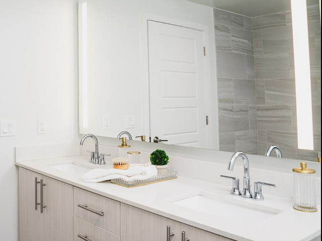Dual vanity with LED backlit mirrors