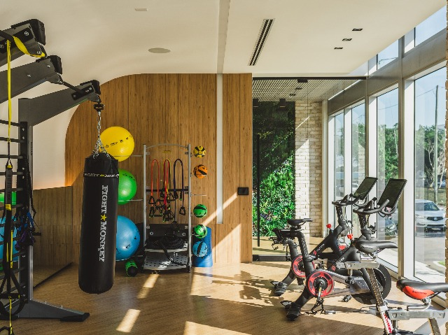 Fitness center with spin bikes