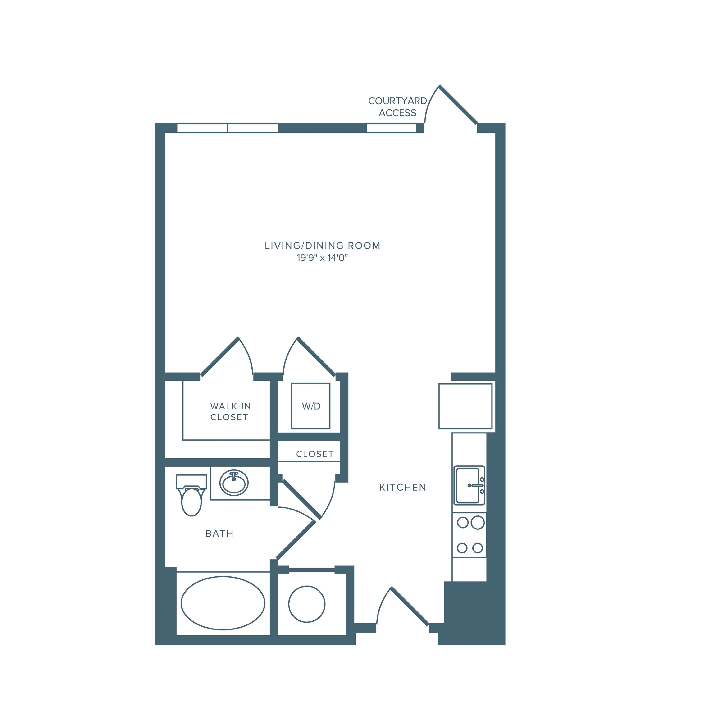 617 square foot studio one bath floor plan image