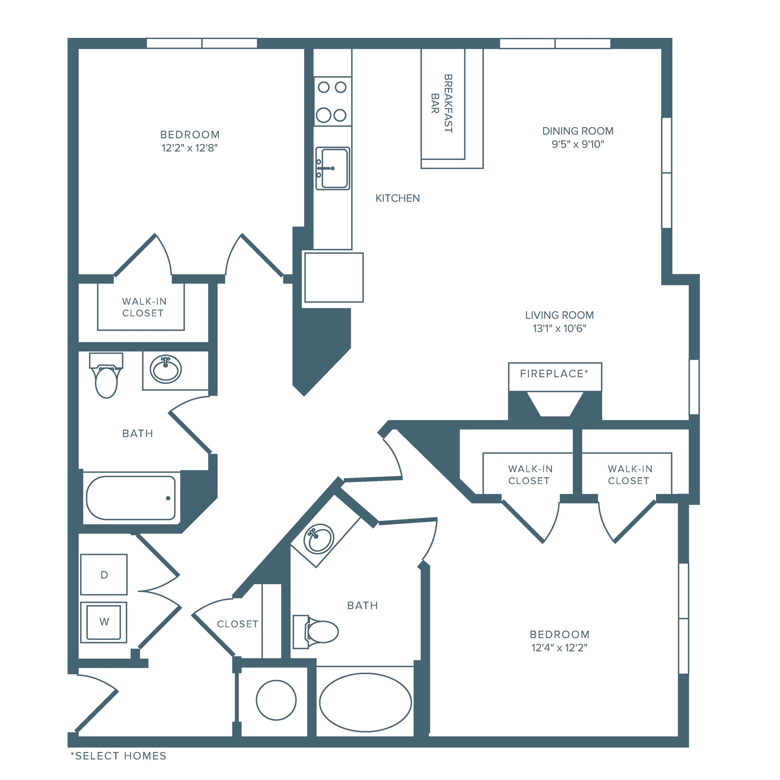 1181 square foot two bedroom two bath apartment floorplan image