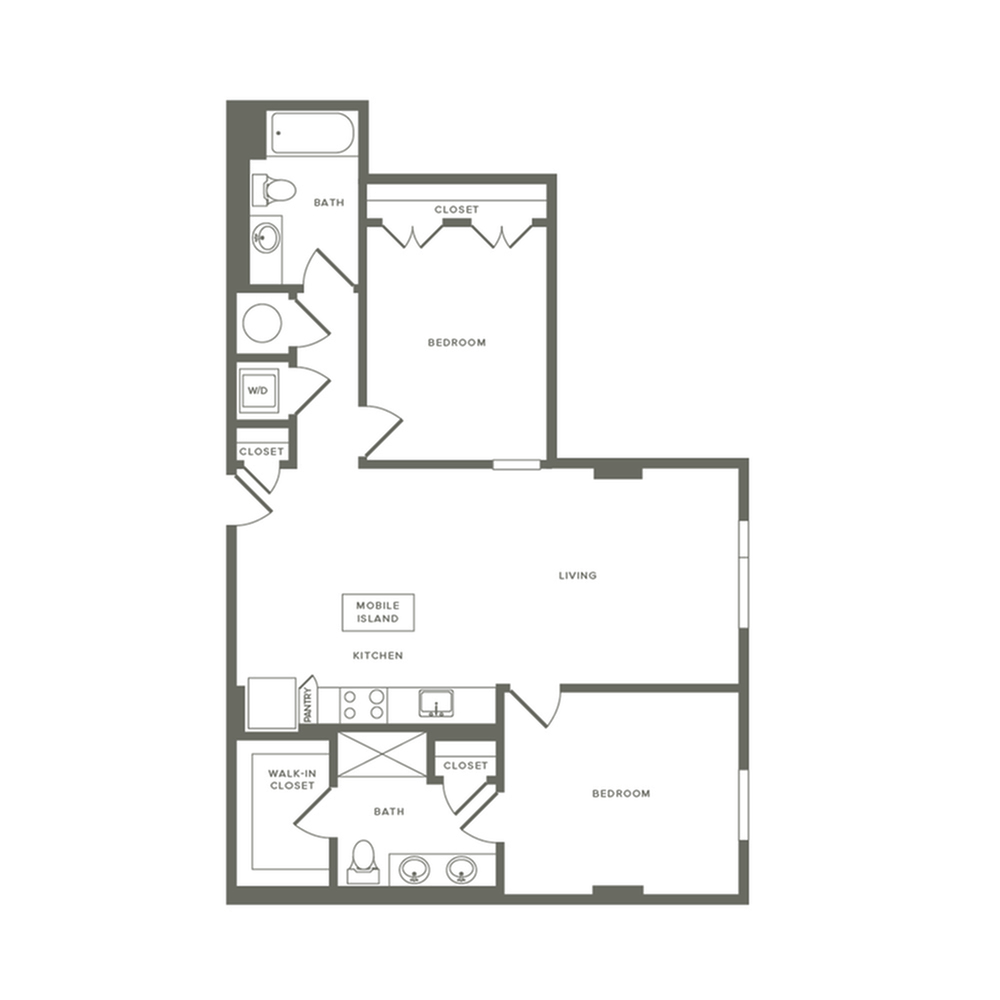 1004 to 1022 square foot two bedroom two bath apartment floorplan image