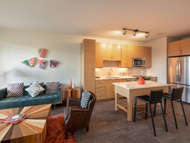 Image of model kitchen at modera river north apartments