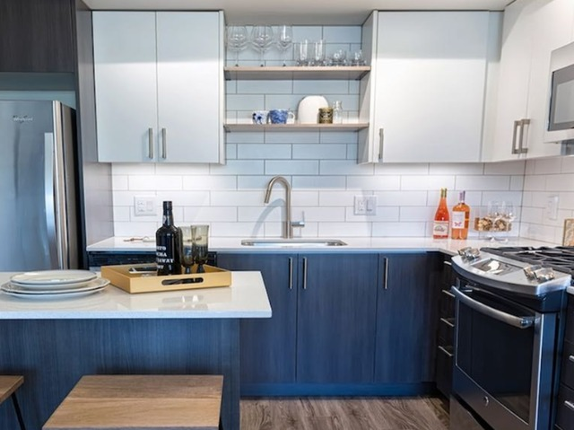 Open display shelving in the kitchen