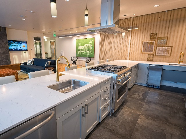 Resident lounge with demonstration kitchen
