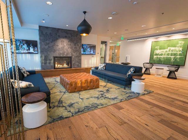 Fireside social seating in resident lounge