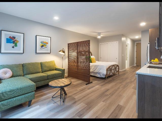 Living Room and Kitchen at Modera LoHi