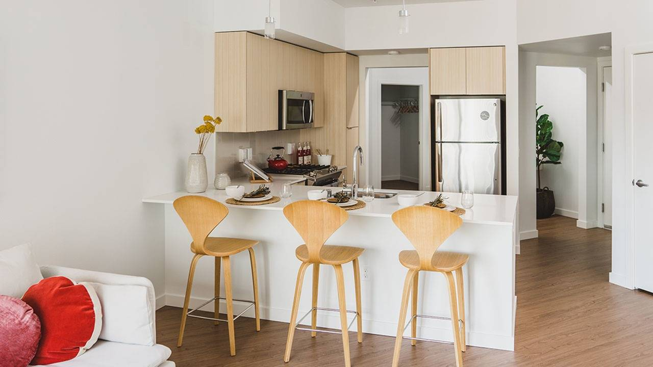 Open kitchens with breakfast bar seating*