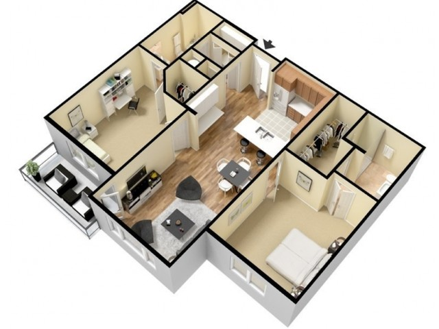 Floor Plan 14 | Apartments Kansas City | Prairie View at Village West