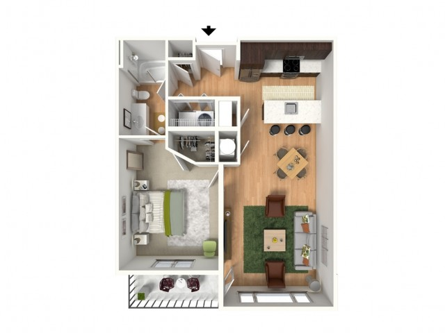 1 Bdrm Floor Plan | Lees Summit MO Apartments | Summit Square
