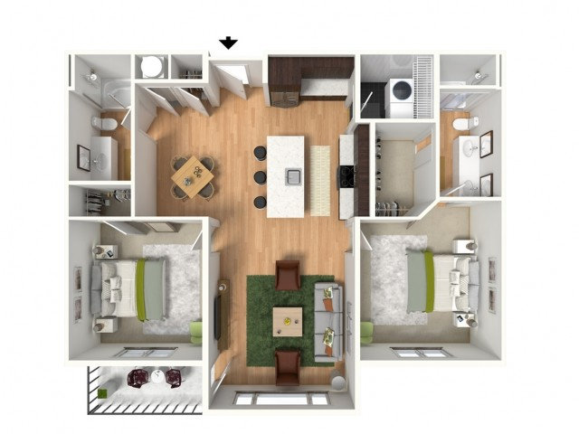 2 Bedroom Floor Plan | Lees Summit Apartments For Rent | Summit Square