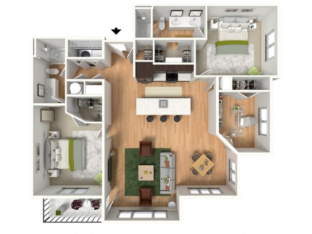 Floor Plan 3 | Lees Summit Apartments For Rent | Summit Square