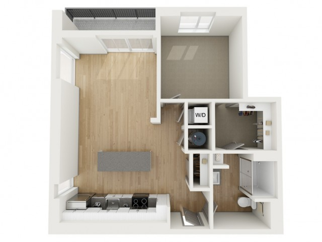 A7 One Bedroom Floor Plan | 2501 Beacon Hill | Kansas City, MO Apartments