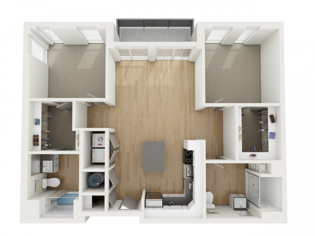 B1 Two Bedroom Floor Plan | 2501 Beacon Hill | Kansas City, MO Apartments
