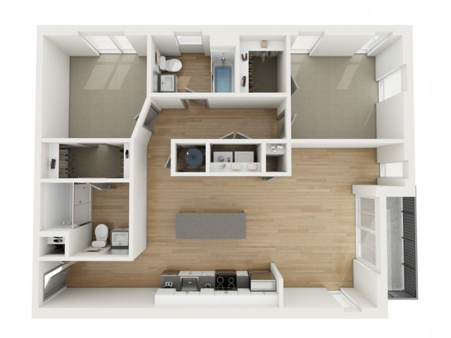B8 Two Bedroom Floor Plan | 2501 Beacon Hill | Kansas City, MO Apartments
