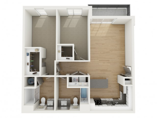B6 Two Bedroom Floor Plan | 2501 Beacon Hill | Kansas City, MO Apartments