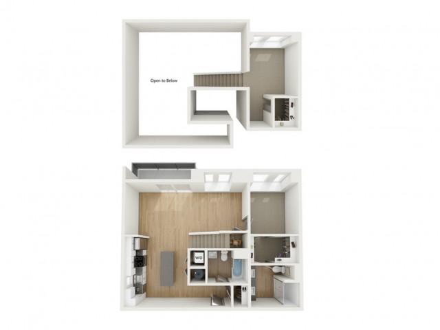 B11 Two Bedroom Loft Floor Plan | 2501 Beacon Hill | Kansas City, MO Apartments