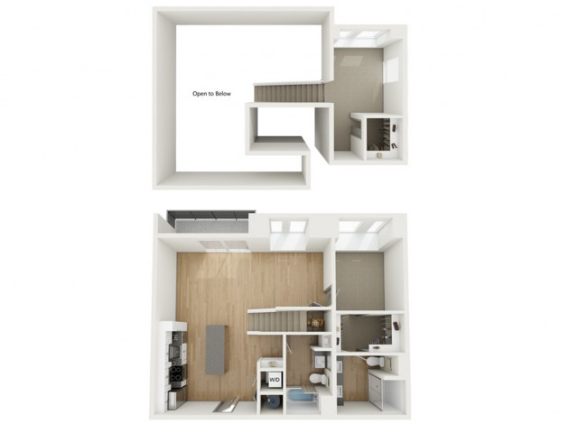 B12 Two Bedroom Loft Floor Plan | 2501 Beacon Hill | Kansas City, MO Apartments