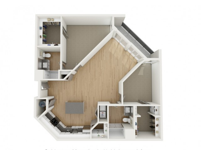 B2 Two Bedroom Floor Plan | 2501 Beacon Hill | Kansas City, MO Apartments