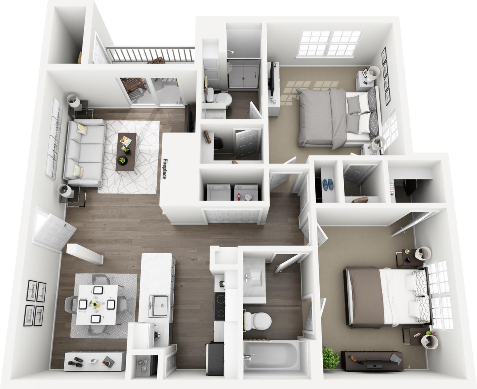 C1 - The Corinthian Floor Plan | Lexington Farms | Apartments in Overland Park, KS