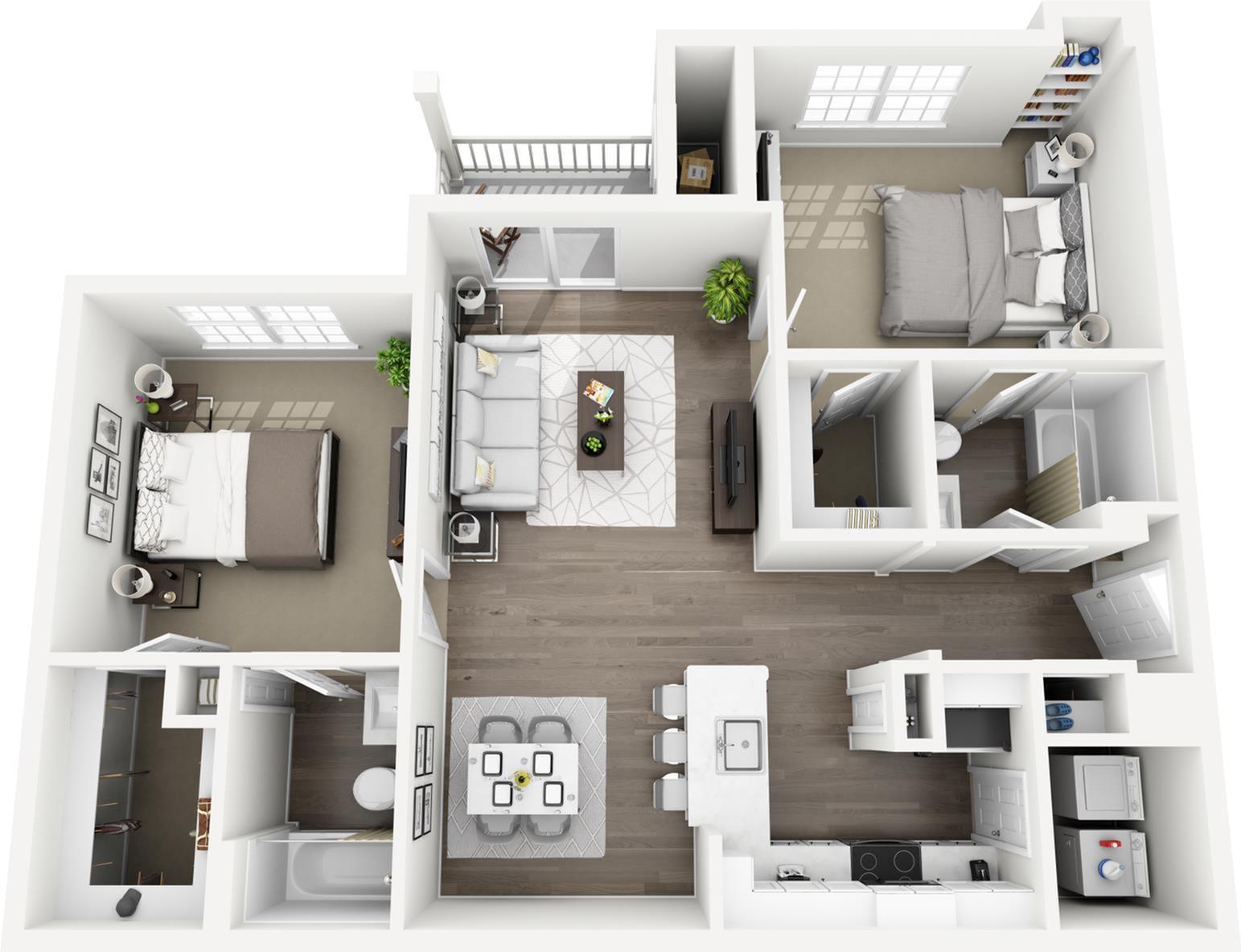 C2 - The Rockhill Floor Plan | Lexington Farms | Apartments in Overland Park, KS