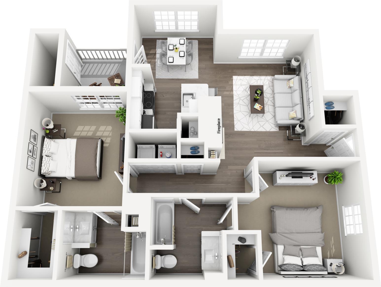 C3 - The Roselawn Floor Plan | Lexington Farms | Apartments in Overland Park, KS