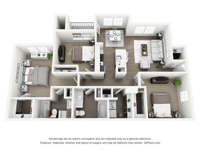 D1 - The Savoy Floor Plan | Lexington Farms | Apartments in Overland Park, KS