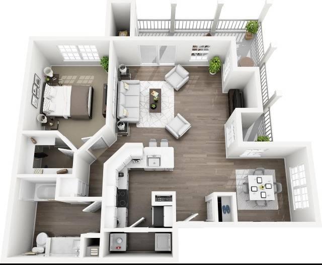 A2 - The Benton Floor Plan | Lexington Farms | Apartments in Overland Park, KS