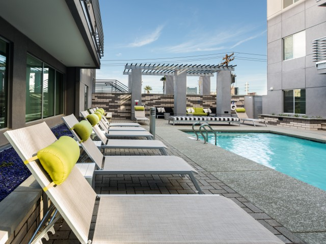 Image of Outdoor Urban Oasis - Elevated 2nd Story Pool + Lounge for Linear