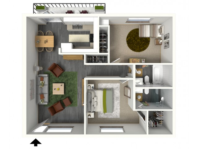 Malibu - 3D - Furnished View