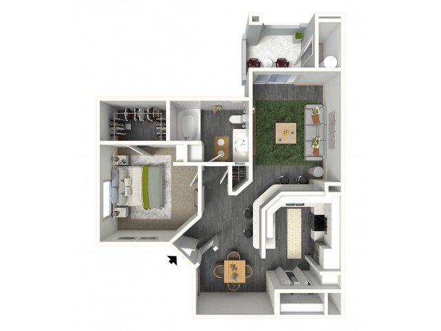 One Bedroom 728 sq. ft.