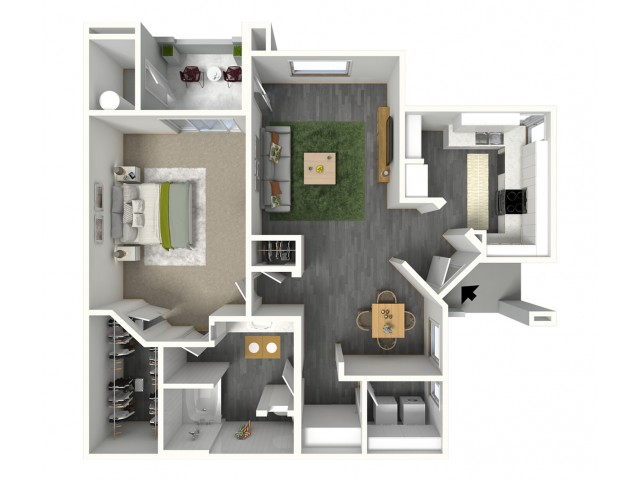 One Bedroom 919 sq. ft.