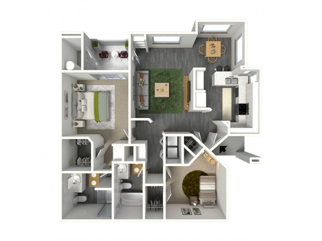 Two Bedroom, Two Bath 1054 sq. ft.