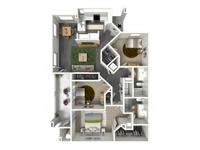 Three Bedroom, Two Bath