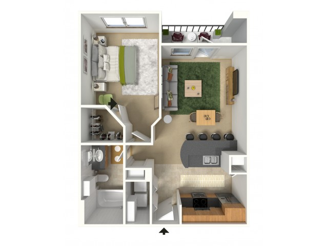 Lido 3D Furnished Floor Plan