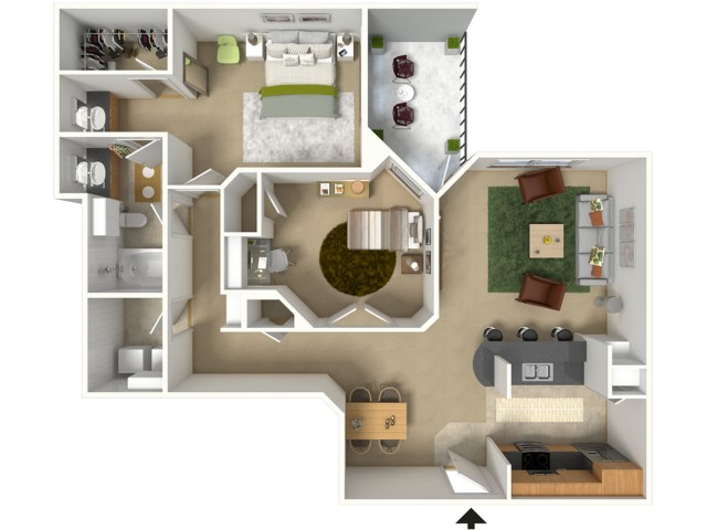 Majors 3D Furnished Floor Plan