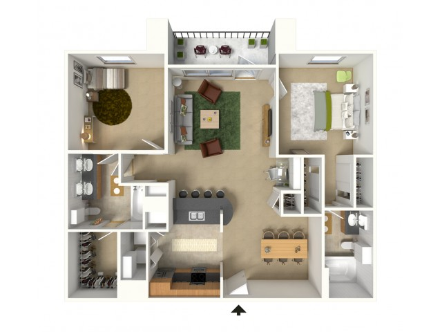 Capri 3D Furnished Floor Plan