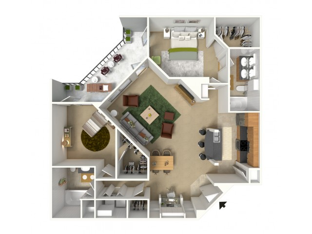 St. Tropez 3D Furnished Floor Plan