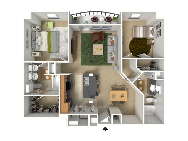Cannes 3D Furnished Floor Plan