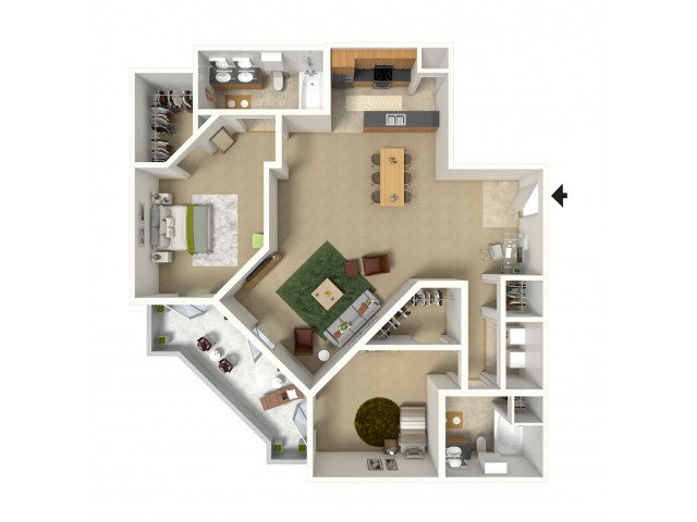 Rapallo 3D Furnished Floor Plan