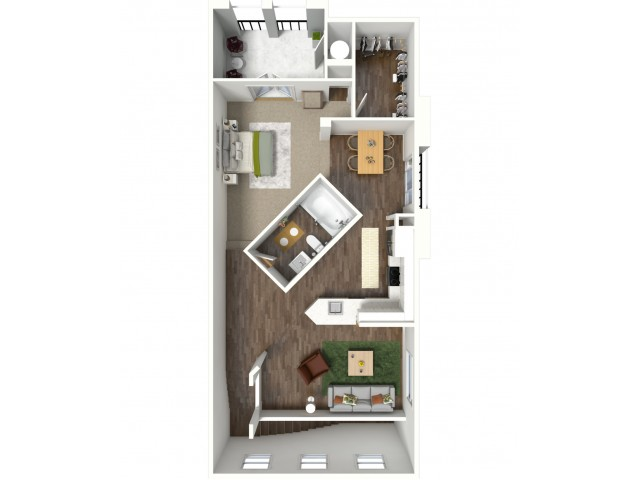 3D furnished floor plan for the S1 Studio