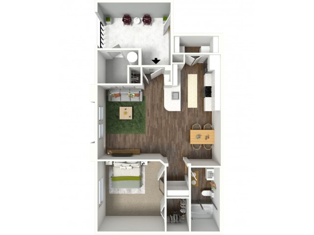 3D furnished floor plan for the A1 1 Bedroom