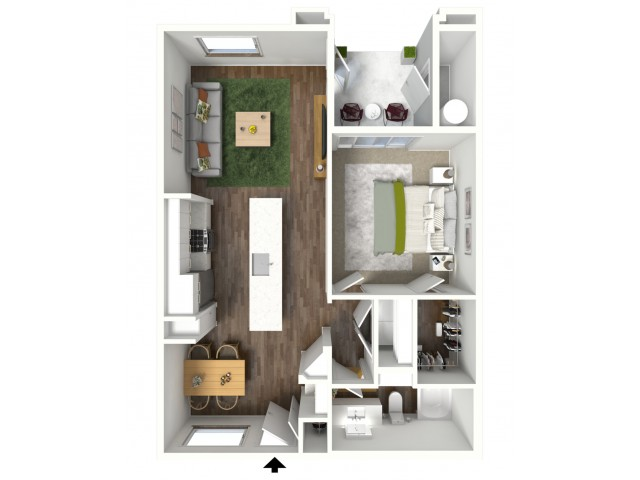 3D furnished floor plan for the A2 1 Bedroom