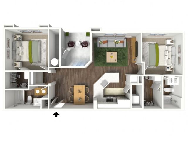 3D furnished floor plan for the B2 2 Bedroom