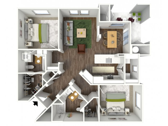 3D furnished floor plan for the B4 2 Bedroom