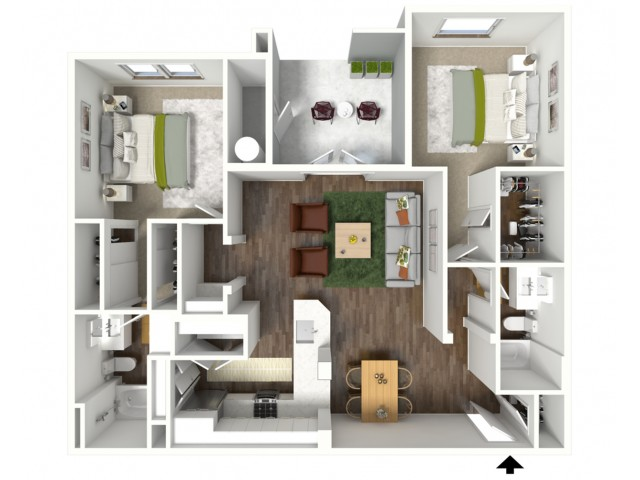 3D furnished floor plan for the B3.B 2 Bedroom