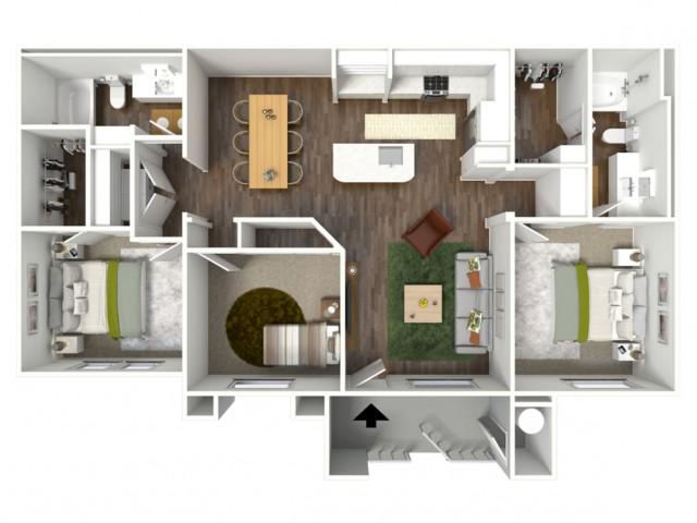 3D furnished floor plan for the C1 3 Bedroom