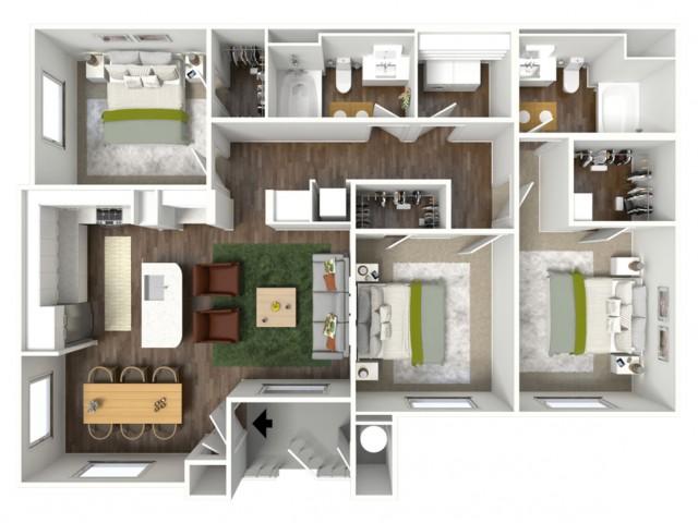 3D furnished floor plan for the C2 3 Bedroom
